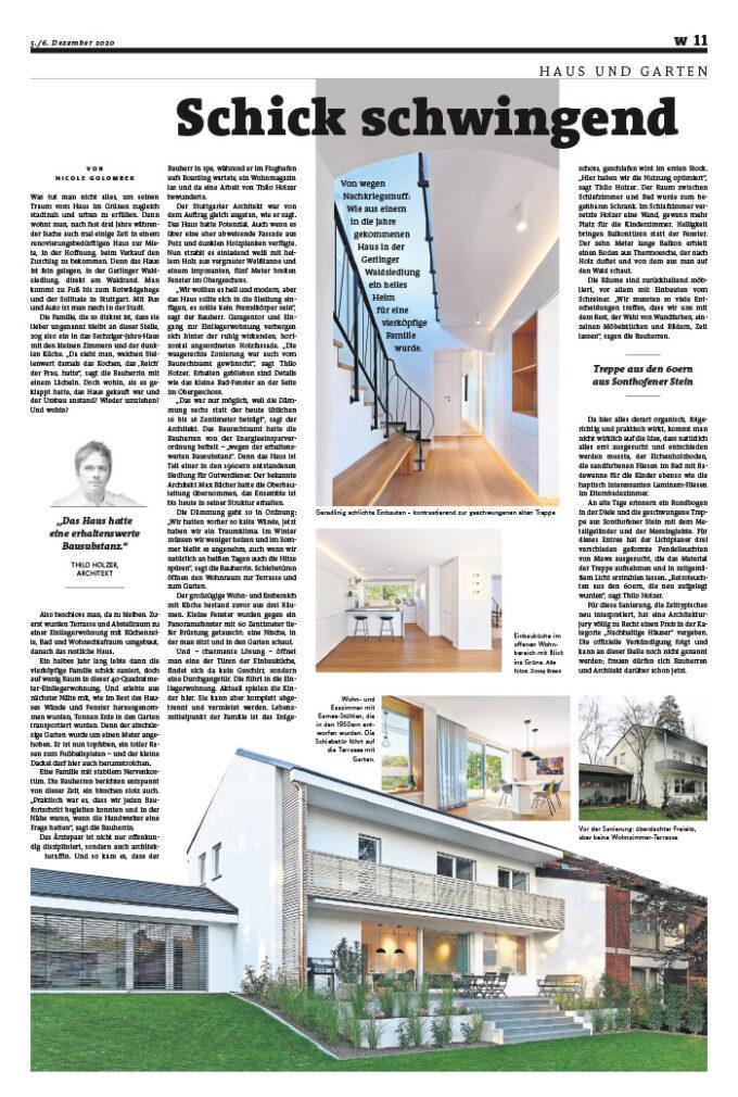Veröffentlichung Stuttgarter Zeitung 6. Dez. 2020